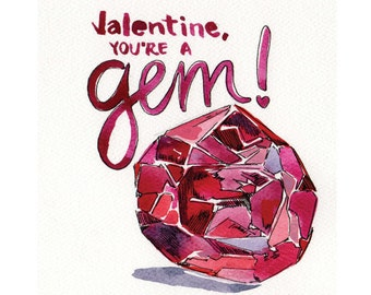 Shiny Red Ruby Geology-Lovers' Valentine Day Watercolor Digital Download Print