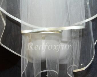 Elbow Length Bridal Veils, 2 Layers, ribbon edge - pearl veil elbow veil, Tulle Veil, White Veils, ivory veil White, Wedding Veil + Comb