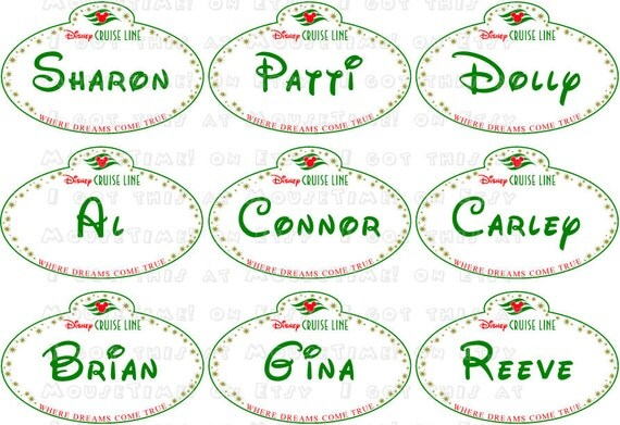 Christmas Name Tags: MAGNETS Christmas Small Cruise Name Tags 9 GREEN Or RED