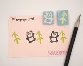 Panda & bamboo Handmade Rubber Stamps, Hand Carved Stamp set
