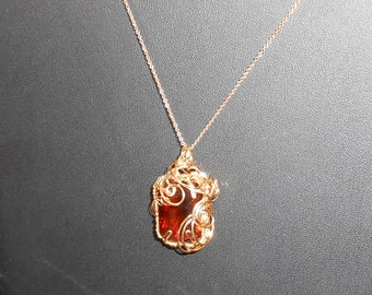 Madeira Citrine/Quartz Gold Flourish Wire Wrapped Pendant