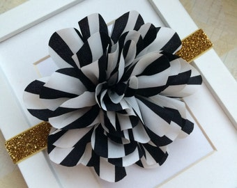 Black and white striped headband with gold glitter headband, black white gold headband,baby headband, girls headband,toddler headband