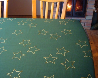 """Christmas Tablecloth; Cotton Tablecloth; Extra Large Table Cover; 57"""" x 102""""; Dark Green Tablecloth with Gold Stars; Christmas Table Linens"""