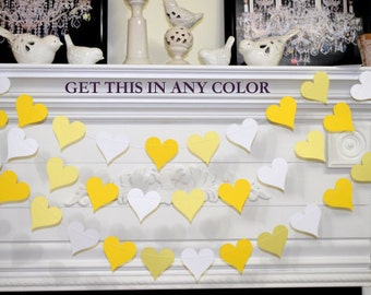 Yellow white gray paper garland wedding garland yellow yellow heart garland wedding decoration wedding garland bridal shower decor photo props junglespirit Gallery