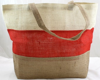Burlap Bag / Tote Ivory, Red Natural (BHBK31411) Good for going to the beach, grocery shopping, everyday use.  Gives a stylish, urban