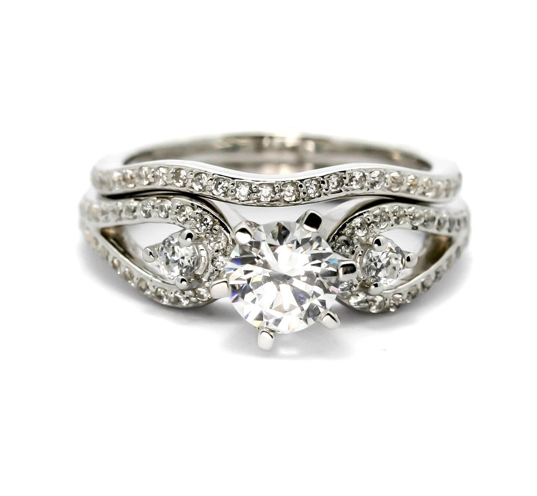split shank engagement ring and wedding band set