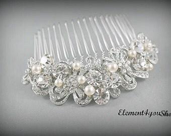 Bridal comb, Rhinestone hair comb, Wedding silver comb, Bride hair comb, Wedding head piece, Bridal rhinestone comb, Wedding headpiece comb