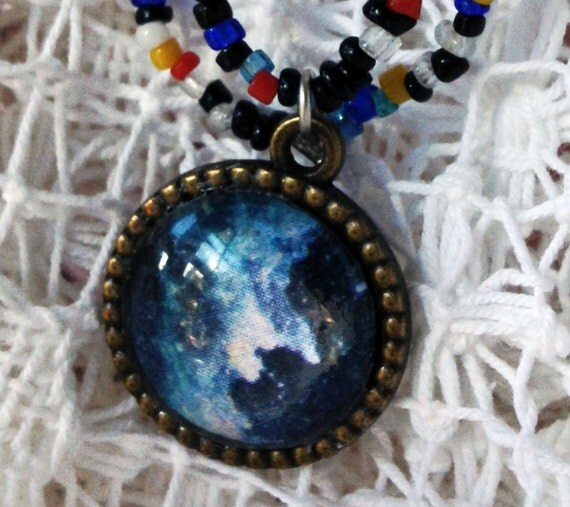 Witch Necklace, Witch Head, Vintage Skeleton, Spellbinding Nebula Necklace Bead Galaxy Necklace Witch Head Nebula Necklace