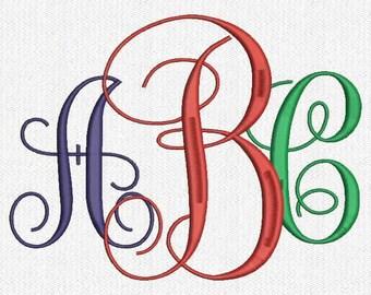 "Interlocking Vine 3"" and 4 "" Inch Font Embroidery Design"