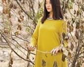 Thick linen dress - Dress fall/winter - Long dress classic - Long sleeves dress - Round neck - Made to order