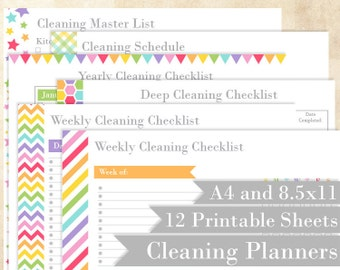 """Cleaning Printable Planners - Rainbow - Home Managment Binder Printables - Editable - 8.5x11"""" and A4"""