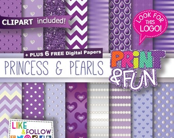 Digital Paper Patterns Backgrounds Scrapbooking Grape, Violet, Pale Purple, Pearls, Hearts, Chevron, Ivory, Small Large Polka dots, Lilac