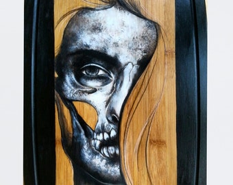 Detailed Illustration of a Skull Face and easel