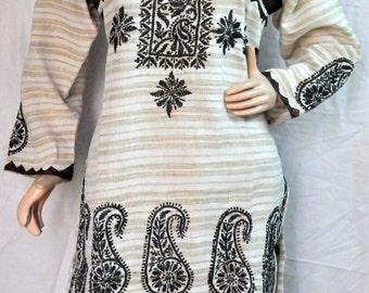 Black Hippie Clothing Women embroidered top shirt Indian Tunic pattern caftan kameez boho Ethnic  Dresss