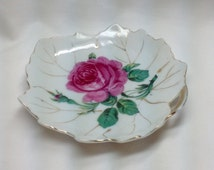 Vintage Nasco Japan Pink Rose Leaf Shape Gold Trim Candy Key Trinket Keepsake Dish Plate