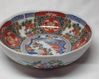 Vintage Andrea by Sadek Japan Oriental Painted Bowl Blossom Red Green Blue