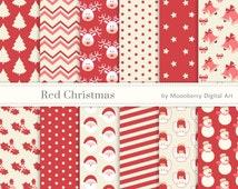 "Red Christmas Digital Papers ""CHRISTMAS DIGITAL PAPERS"" Christmas Papers Angels, Santa Claus, Deer head, Snowflakes, Poinsettia, Bells."