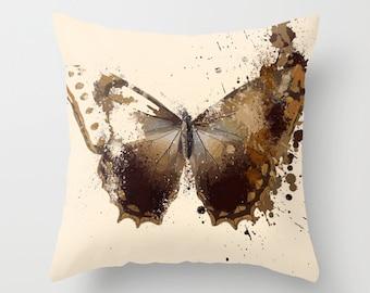 Brown Blue Paint Splatter Butterfly Throw Pillow Cover. 16x16 pillow. 18x18 pillow. 20x20 pillow. Pillow Case. Butterfly Throw Pillow.