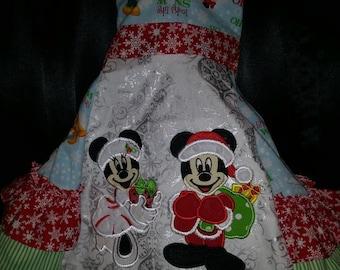 Custom Christmas Mickey Minnie Disney vacation Ruffle Dress with Applique