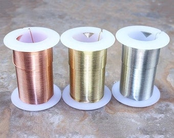 Tarnish Resistant Craft Wire 22ga - 20yd Spool (Choose Copper, Silver or Gold Color)  (WR6022)