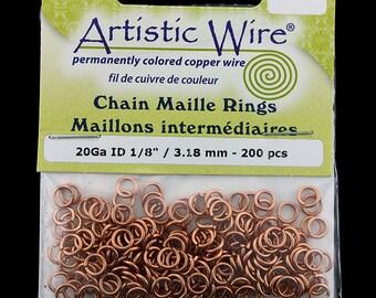 "Artistic Wire Natural Copper Jump Ring 4.3mm ID (11/64"") 20ga (pkg/150)  (900AWN-16)"