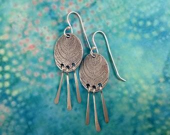 Fern Dangle Earrings - Fine Silver
