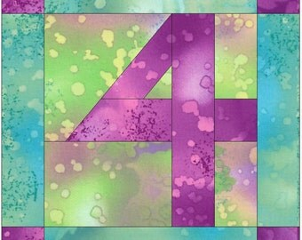 Number 4 Paper  Foundation Quilting Block Pattern