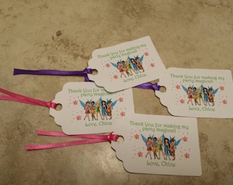 """Personalized Favor Tags 2.5""""Lx1.8""""w, Thank You tags, Favor tags, Gift tags, Disney fairy favor tags, thinkerbell favor tag, thinkerbell"""