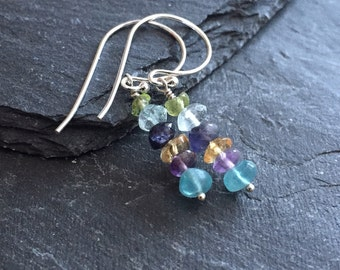 Pastel Energising Gemstone Drop Earrings in Sterling Silver, small and dainty