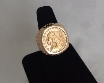 2 1/2 Dollar U.S. Indian Coin Ring in 14k Gold Mount - EB219