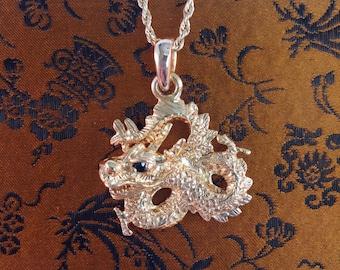 Custom-made 14k Golden Dragon Pendant with Black Onyx Eyes*** - EB229