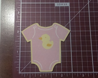 """Pink Girl 2.5"""" Paper Baby Onesie Place Cards, Onesie Cutouts Baby Shower, Die Cuts, Scrapbook Embellishments Tags Decorations Set of 12"""