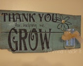 Thank You For Helping Me Grow Pallet Sign with Jar! Teacher Gift, Rustic, Mom Gift, Grandma Gift, Inspirational, Mother's Day, Vase, Flower