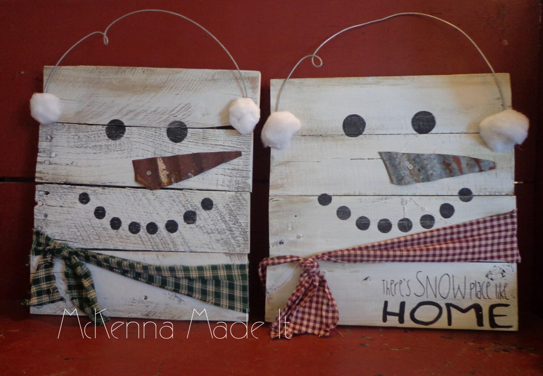 Snowman Pallet Wood Sign Door Hanger Christmas Decor Winter