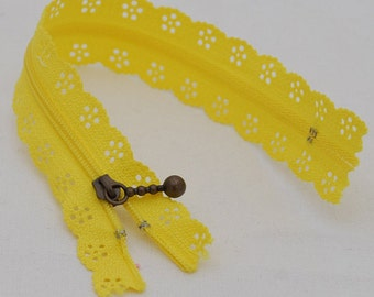 25cm Lace Zipper  - YELLOW