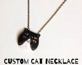 Custom Cat Necklace / Handmade Polymer Clay