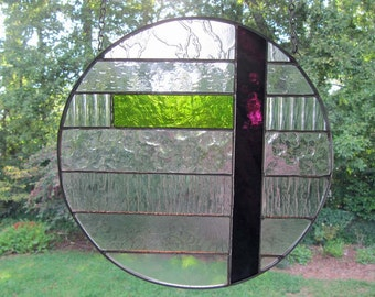 """Clear Textured Glass with Green and Dark Purple Accents:  Suncatcher / Stained Glass Panel (approx 11"""" in diameter)"""