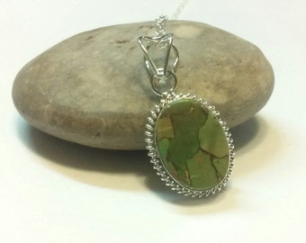 Sea Sediment Jasper Cabochon Necklace with Sterling Silver Chain and Sterling Silver Lobster Claw Clasp