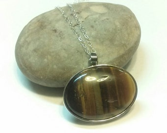 Tiger Eye Cabochon Necklace with Sterling Silver Chain and Sterling Silver Lobster Claw Clasp