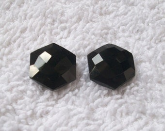 15 mm Natural BLACK ONYX Hexagon Briolette Faceted have Lots of Gorgeous... beautiful BLACK color