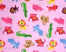 Pink cotton fabric with Zoo Animals printed!