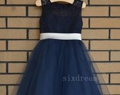 Navy Lace  Flower Girl Dress ivory sash/bow Country Wedding Baby Girls Dress Tulle Rustic Baby Birthday Dress
