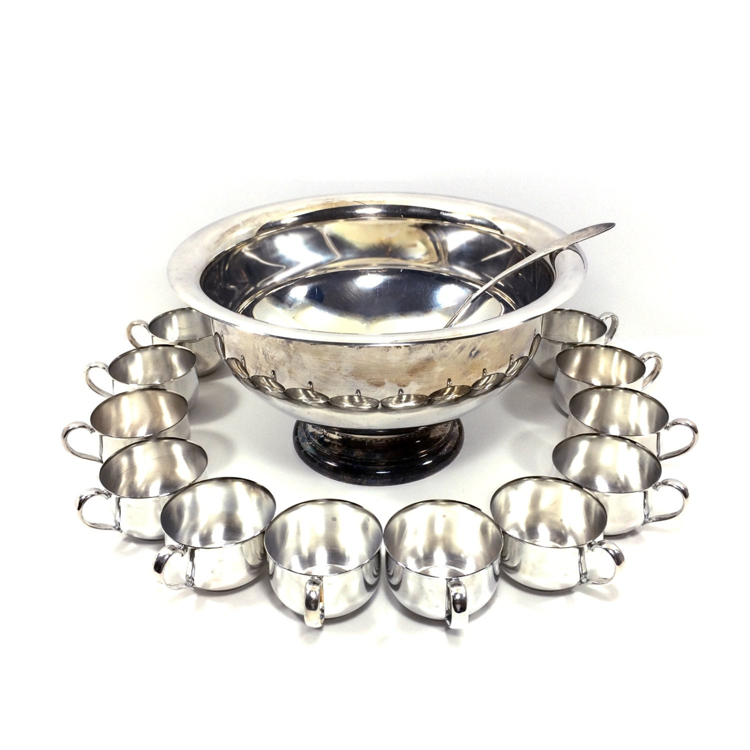 vintage silverplate punch bowl set con 12 tazze mestolo di. Black Bedroom Furniture Sets. Home Design Ideas
