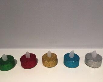 Glitter Tea light LED Flameless Candle -  Tea Light Candle - Multiple Colors - Glitter Votive - Winter Decor - Holiday Candle - Home Decor