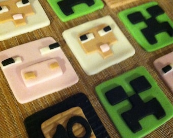 Edible Fondant Minecraft Inspired Edible Cupcake Toppers