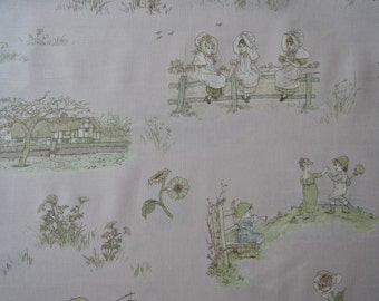 "Half yard of 2014 (31007-20) Lecien Kate Greenaway Fabric on Peach Pink Background. Approx.  18"" x 44"" Made in Japan"