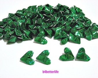 100pcs Green Color Medium size 3D Origami Hearts. 'LOVE'. (4D Glittering paper series).