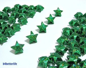 70pcs Big Size GREEN Color Origami Lucky Stars. (4D Glittering Paper Series). #FOS-19.