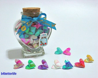 75pcs Mini Size 3D Origami Hearts In A Heart-shaped Bottle. (TX paper series)