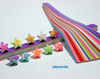 200 strips of Assorted Colors DIY Origami Lucky Stars Medium Size Paper Folding Kit. 24.5cm x 1.2cm. (AV Paper Series). #SPK-164.